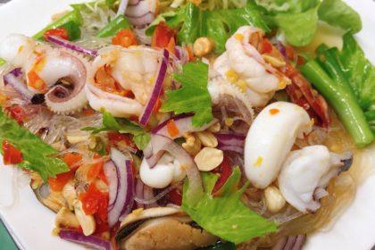 ยำวุ้นเส้นทะเล|ヤムウンセンタレー|春雨のシーフードサラダ|Spicy Glass Noodle Salad With Seafoods