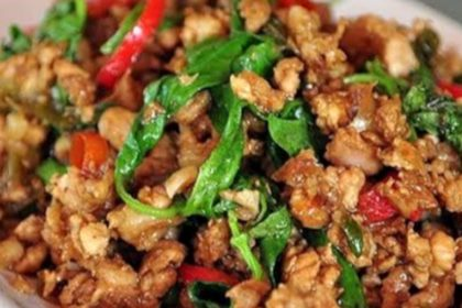 ผัดกระเพรา|パットガバオムー|豚ひき肉のパジル妙め|Thai stir-fried minced pork