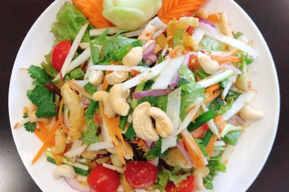 ยำสามกรอบ|ヤムカボプラー|揚げ魚の浮き袋、干海老、スルメのスパイシーサラダ|Fried Fish maw、Dried Shrimps、Dried Squid Spicy Salad