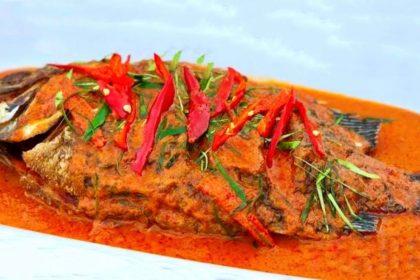 ฉู่ฉี่ปลานิล|チューチープラーニン|タイ式の魚のレッドカレーがけ|Deep Fried Fish with Red curry