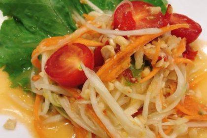 ตำไทย ソムタムタイ パバイヤサラダ Thai spicy papaya salad