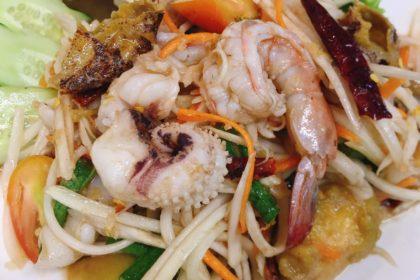 ตำทะเล ソムタムタレー シーフードのソムタム Papaya Salad with Seafood