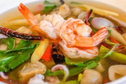 ต้มยำโป๊ะแตก トムヤムボーテック タイ風シーフードスープ Thai spicy sour seafood soup