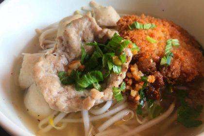 ก๋วยเตี๋ยวน้ำไสหมูเด้ง クィッティアオムーデン 豚肉入り汁ビーフン Thai Noodle Clear soup with pork