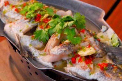 ปลานึ่งมะนาว|プラーヌンマナーオ|魚のライム蒸し|Steamed fish with spicy lemon sauce